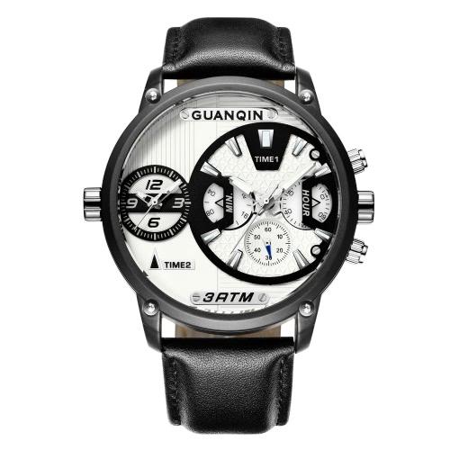 GUANQIN Zafiro Luminoso Doble Reloj Reloj Hombre De Cuarzo Reloj Deportivo Cronógrafo De Cuero Hombre Impermeable Reloj Ocasional + Caja