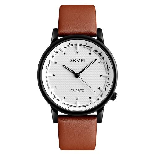 SKMEI 3ATM impermeável moda casual relógio homens relógio de quartzo relógio de pulso de couro genuíno homem