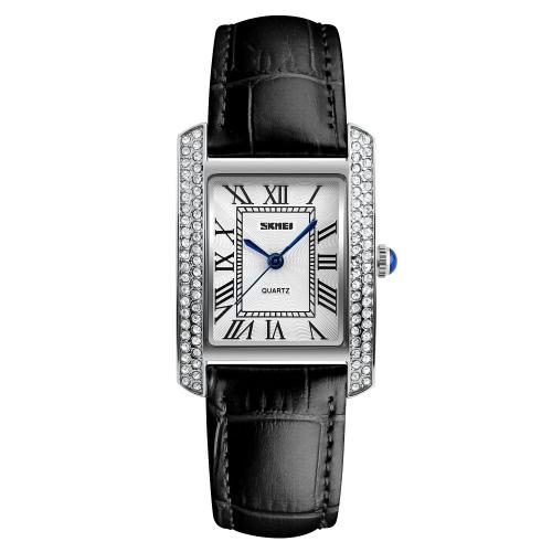 SKMEI 3ATM impermeable Moda Casual Reloj Mujeres Relojes De Cuarzo Reloj De Pulsera De Cuero Genuino Mujer Relogio Musculino