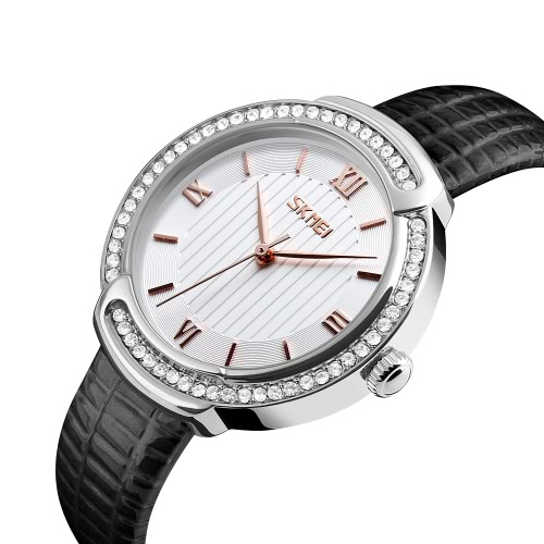SKMEI 3ATM Water-resistant Quartz Watch Fashion Casual Women Watches Genuine Leather Wristwatch Female Relogio Feminino