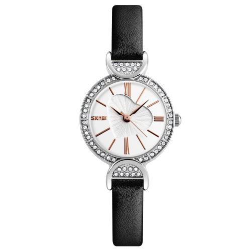 SKMEI 3ATM Vestido de vestir resistente à água Mulheres Relógio de quartzo Relógio de pulso de couro genuíno Feminino Relogio Feminino