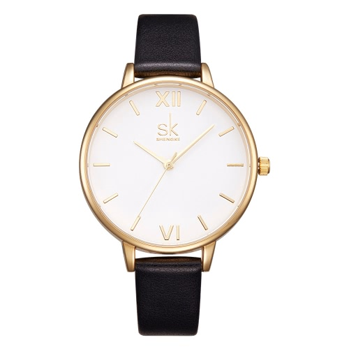 Shengke Fashion Simple Watch 3ATM Water-resistant Quartz Watch Women Wristwatches Female