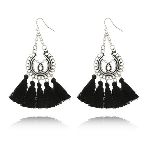 Moda Czeski Kolczyki Kobiety Okrąg Długie Tuass Fringe Dangle Kolczyki Akcesoria Biżuteria