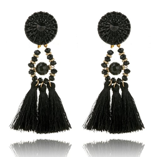 Moda retro estilo étnico contas de cristal Tassel Dangle Drop Earrings for Women Jewelry Accessory