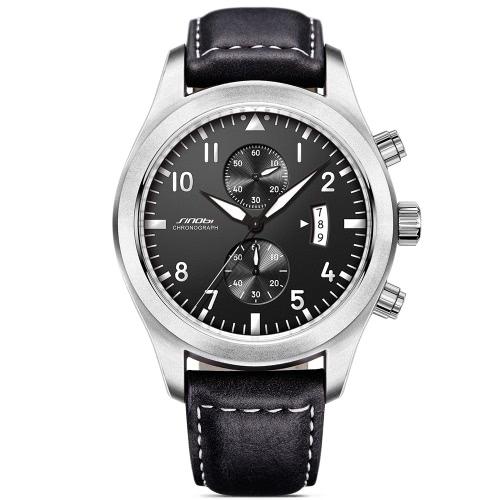 SINOBI Fashion Casual Quartz Watch Life Relógios impermeáveis para homens Relógios de pulso luminosos Calendário de calendário masculino