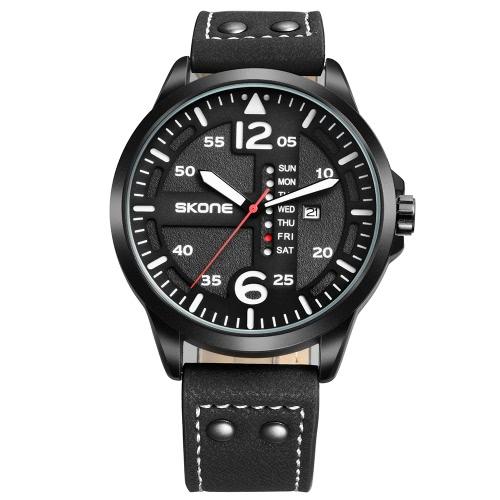 SKONE Art- und Weisebeiläufige Quarz-Uhr 3ATM Wasser-beständige Uhr-leuchtende Armbanduhr-männliche Kalender-Woche