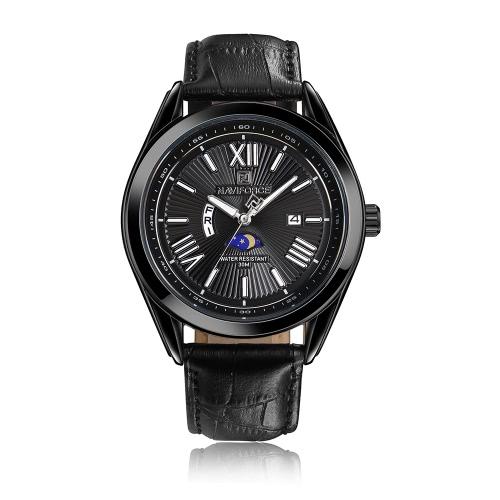 NAVIFORCE Fashion Casual Relógio de luxo 3ATM Relógio de quartzo resistente à água Relógio de pulso luminoso de couro genuíno Calendário Masculino