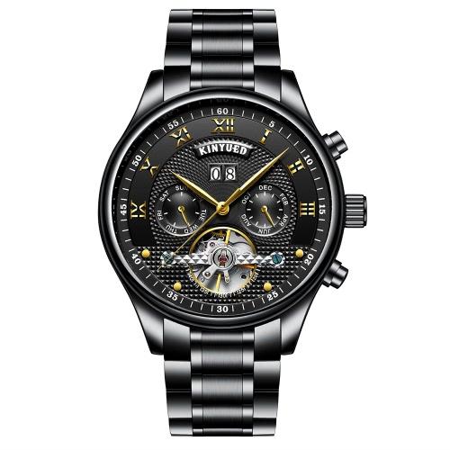 KINYUED Business Watch automatische mechanische Männer Uhren 3ATM wasserdicht Armbanduhr männlich