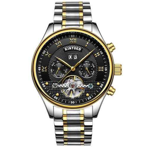 KINYUED Reloj de negocios mecánico automático de los hombres relojes 3ATM resistente al agua reloj de pulsera Hombre