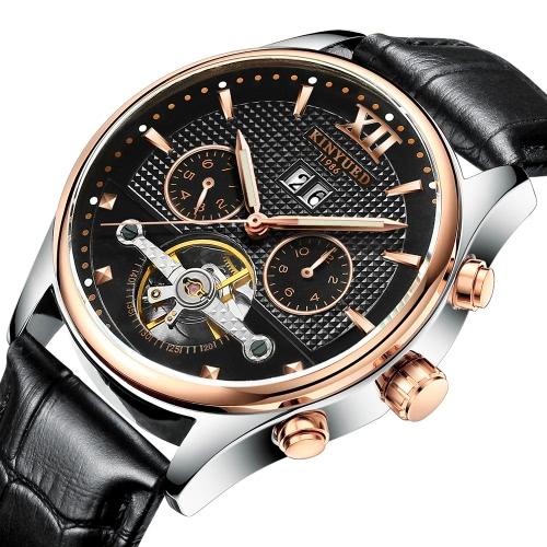 KINYUED Business Watch 3ATM resistente à água automático mecânico homens relógios relógio de pulso de couro genuíno luminoso macho