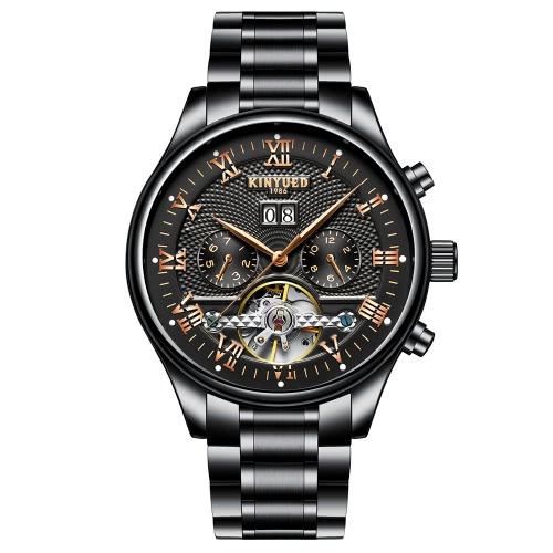 KINYUED Business Watch Relógios mecânicos automáticos 3ATM homens resistentes à água relógio de pulso macho