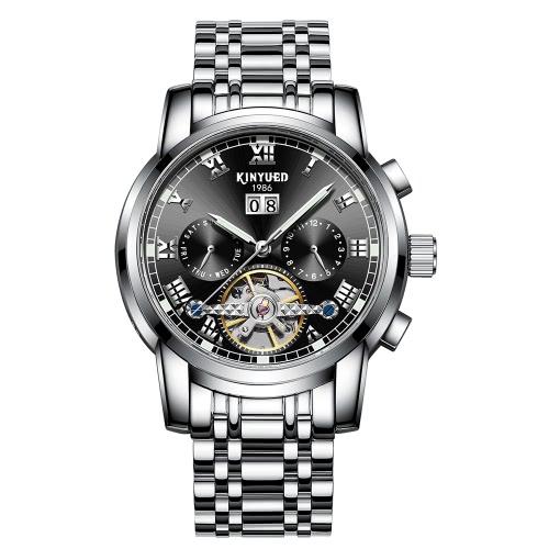 KINYUED Business Uhr Automatische Mechanische 3ATM wasserdicht Uhr Leucht Männer Armbanduhren Männer Kalender