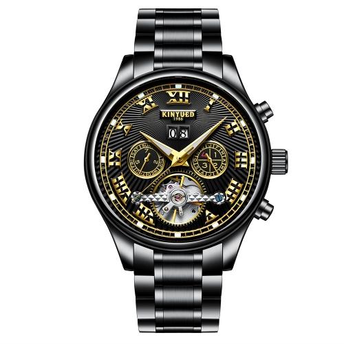 KINYUED Business Watch 3ATM resistente à água relógio mecânico automático homens luminosos relógios de pulso calendário masculino