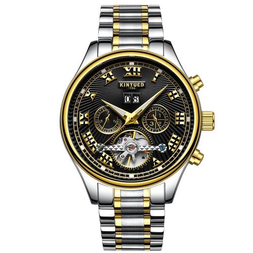 Reloj de negocio de KINYUED 3ATM reloj mecánico automático resistente al agua Relojes luminosos de los hombres calendario masculino