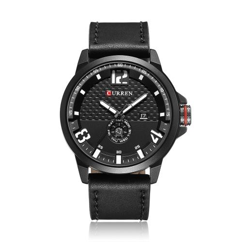 CURREN 2017 Cool PU cuero cuarzo hombres reloj a prueba de agua calendario hombre casual reloj de pulsera