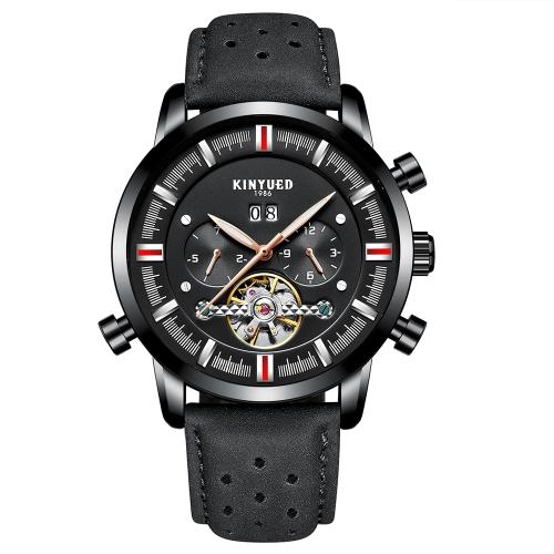 KINYUED Business Watch 3ATM orologio automatico impermeabile automatico della vigilanza del calendario maschio dell'orologio di cuoio genuino luminoso