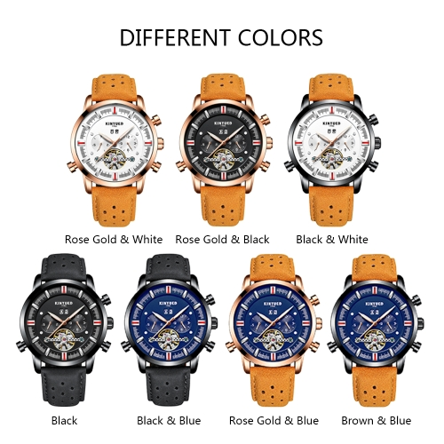 KINYUED Business Watch 3ATM Water-resistant Automatic Mechanical Watch Luminous Genuine Leather Wristwatch Male Calendar