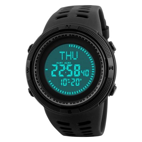 SKMEI Sportuhr 5ATM wasserdicht Digitaluhr Hintergrundbeleuchtung Männer Armbanduhr Männlich Stoppuhr