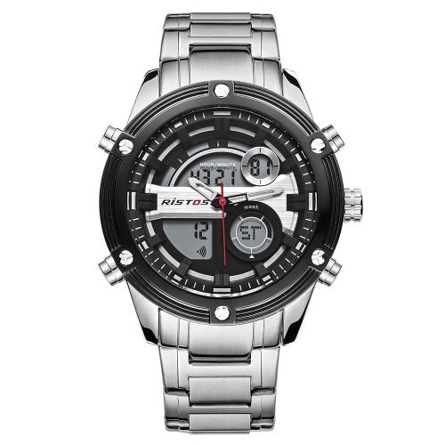 RISTOS Sport Quartz Cyfrowy zegarek 3ATM Wodoodporny Męski Zegarek Zegarek na rękę Zegarki na rękę Samiec Chronograf