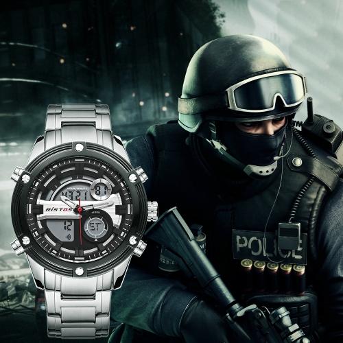 RISTOS Sport Quartz Digital Watch 3ATM Water-resistant Men Watches Backlight Wristwatch Male Calendar Chronograph