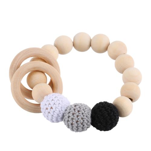 Ronda de seguridad de grano de madera natural de la dentición del bebé pulsera de enfermería de madera masticar juguete lindo mordedor de formación Biter
