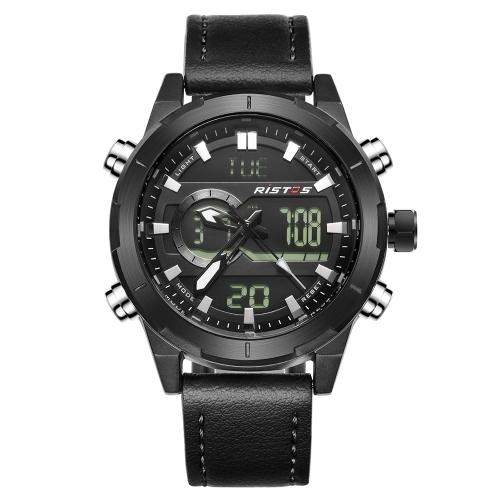RISTOS Sport Quarz Digitaluhr 3ATM wasserdicht Herrenuhr Hintergrundbeleuchtung Echtes Leder Armbanduhr Männlichen Kalender