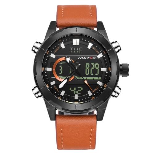 RISTOS Reloj digital de cuarzo deportivo 3ATM Reloj resistente al agua Reloj retroiluminado Reloj de pulsera de cuero original Calendario masculino