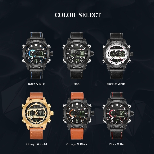 RISTOS Sport Quartz Digital Watch 3ATM Water-resistant Men Watch Backlight Genuine Leather Wristwatch Male Calendar