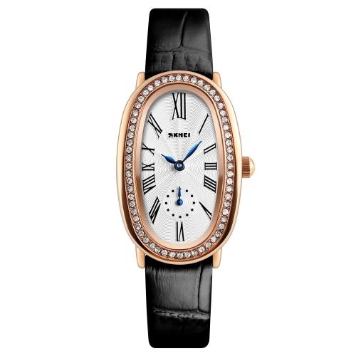 SKMEI mody przypadkowy zegarek kwarcowy 3ATM odporny na działanie wody zegarki damskie Zegarek damski z prawdziwego zdarzenia Leather Relogio Feminino