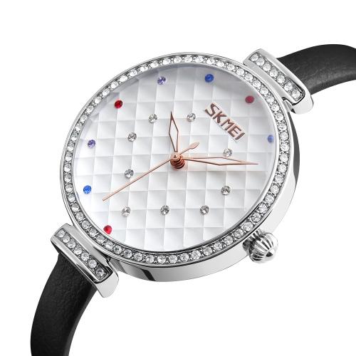 SKMEI Fashion Casual Quartz Watch 3ATM Relógios impermeáveis para mulheres Relógios de pulso de couro genuíno Feminino Relogio Feminino