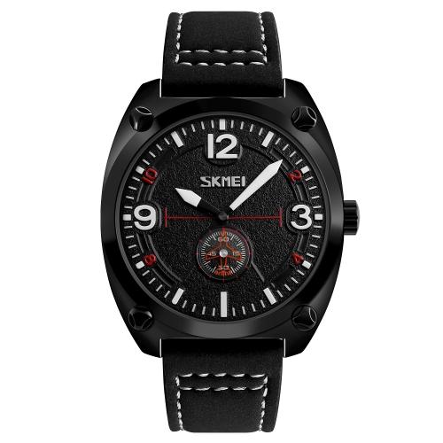 SKMEI Fashion Casual Quartz Watch 3ATM Relógios impermeáveis para homens Relógio de pulso de couro genuíno Masculino