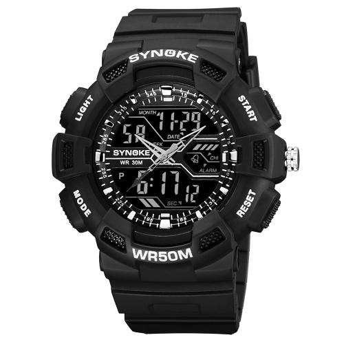 SYNOKE reloj deportivo digital 5ATM reloj resistente al agua reloj de pulsera con luz de fondo hombre cronógrafo