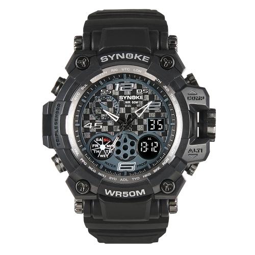 SYNOKE Digital Sportuhr 5ATM wasserdicht Männer Uhren Hintergrundbeleuchtung Dual Display Armbanduhr Männlich