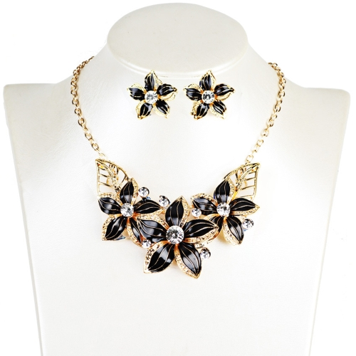 Fashion Jewelry Set Flowers Drop Diamond Short Necklace Earrings Women Party Accessories