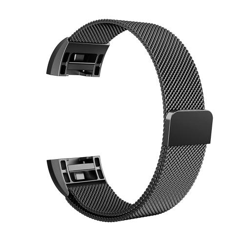 Banda de reloj de acero inoxidable de malla de moda para Fitbit Charge 2 pulsera de correa de reloj de 18 mm Banda de reemplazo de broche magnético
