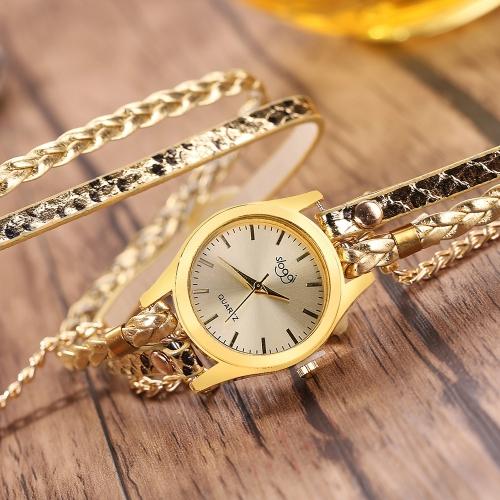 Moda w stylu vintage Casual uzwojenia wężowej pleciony zegarek z warkocza kobiet zegarek kwarcowy