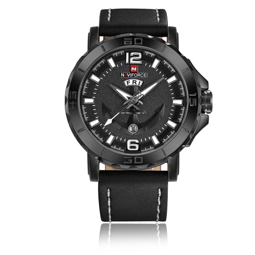 NAVIFORCE Cool Luminous Quartz Men Watch 3ATM Water-Proof Hombre Casual Reloj de pulsera de cuero genuino Calendario y semana + Caja