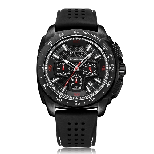 MEGIR Mode Sport Silikon Männer Uhren 3ATM wasserdicht Quarz Luminous Man Armbanduhr Chronograph Kalender