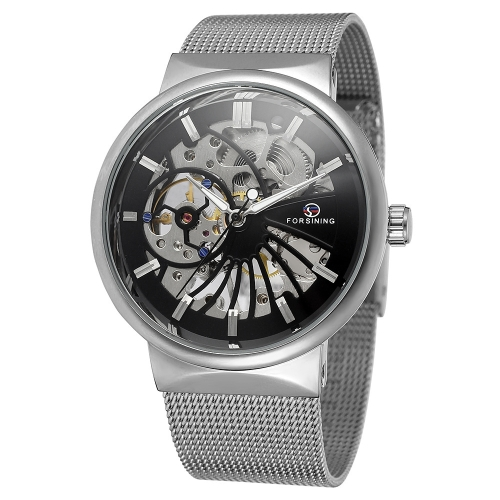FORSINING Luxury Luminous Skeleton Men Mechanical Watch Banda de Acero Inoxidable Banda de Acero Inoxidable Reloj de pulsera Casual + Caja