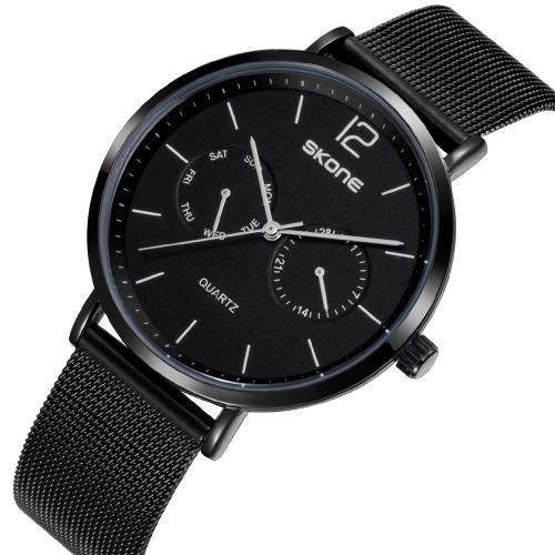 SKONE Fashion Mesh Stainless Steel Quartz Men Watch Luxo 3ATM Water-Proof Man Casual Relógio de pulso Semana e Calendário