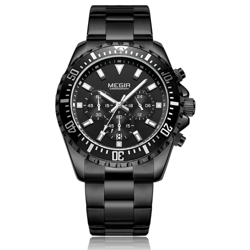 MEGIR Fashion Sport Stainless Steel Men Zegarki 3ATM Wodoodporny zegarek kwarcowy Luminous Man Chronograph kalendarz