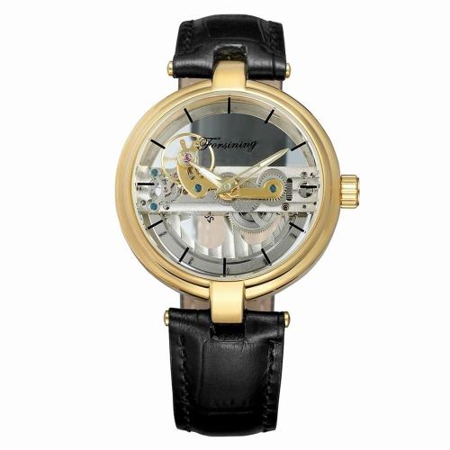 FORSINING Fashion Luxury Mechanical Genuine Leather Men Zegarki Automatic Luminous Watch Man