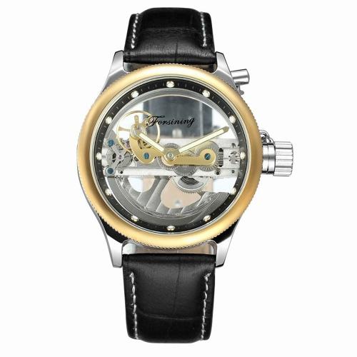 FORSINING Relojes mecánicos de lujo de cuero genuino de los hombres de la manera de los relojes automáticos luminosos del reloj del hombre