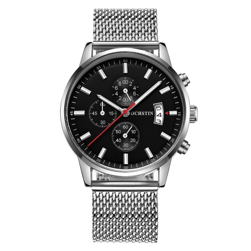 Ochstin mode sport edelstahl männer uhren quarz 3 atm wasserdicht leuchtende mann armbanduhr kalender chronograph