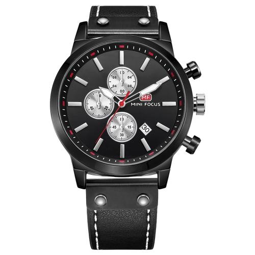 MINI FOCUS Relógios de homem de couro genuíno Quartz 3ATM Water-resistant Luminous Casual Man Relógio de pulso Calendário