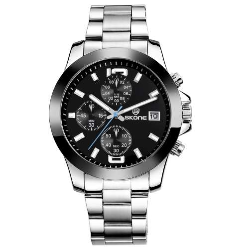 SKONE Luxury Luminous Quartz Stainless Steel Man Watch