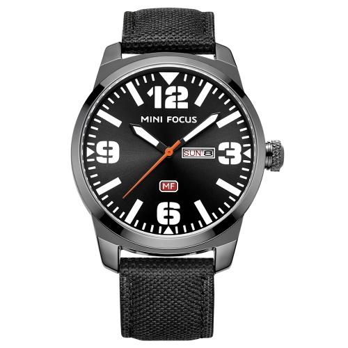 MINI FOCUS Moda Nylon Men Relógios Quartz 3ATM resistente à água Luminous Casual Man Relógio de pulso Calendário Semana