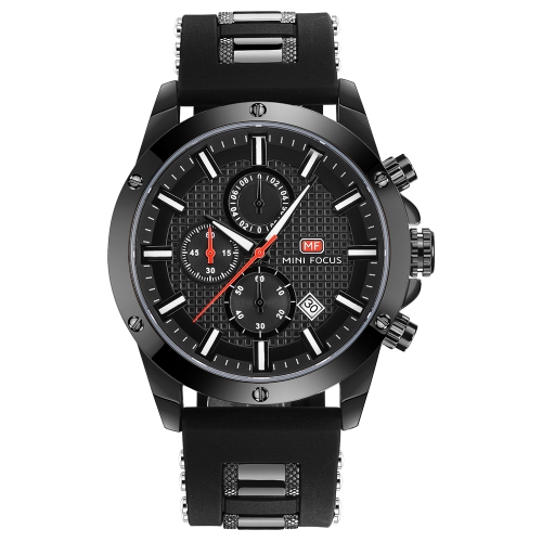 MINI FOCUS Fashion Luminous Quartz Man Watch Water-Proof Silicone Band Men Casual Wristwatch Chrono Sports Style + Box