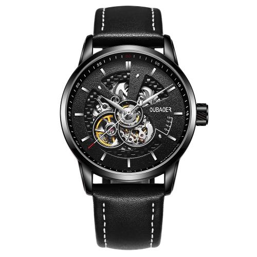 OUBAOER Luxury Genuine Leather business Automatyczny męski Zegarek mechaniczny 3ATM Wodoodporny zegarek na rękę