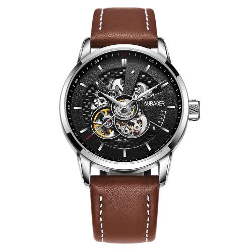 OUBAOER lujo cuero genuino negocios hombres automáticos Relojes mecánicos 3ATM resistente al agua hombre reloj de pulsera